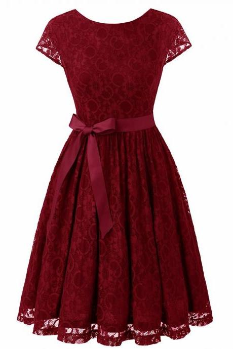Burgundy Scooped Neck Lace A-Line Short Dress with V- Back , Homecoming Dress, Cocktail Dresses, Graduation Dresses