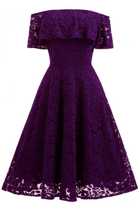 Women's Casual Off Shoulder Lace Swing Dress - Purple