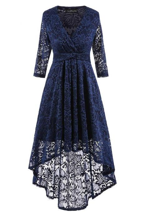 Women Half Sleeve Deep V Neck High Low Irregular Lace Party Dresses - Blue