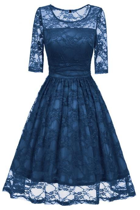 Women O Neck Half Sleeve Floral Lace Slim Ruched Sexy A Line Dress - Blue