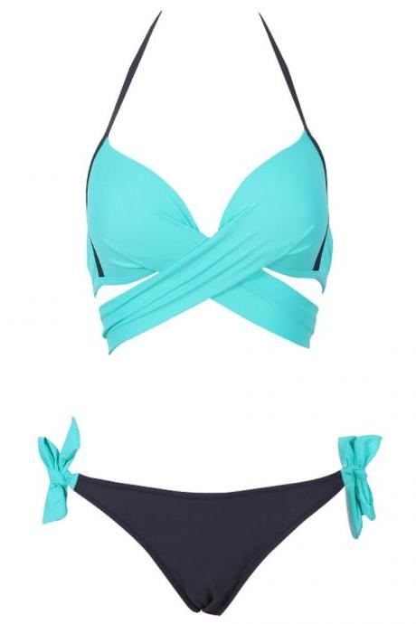 Cross Patchwork Women Swimwear Swimsuit Halter Top Bathing Suits - Sky Blue