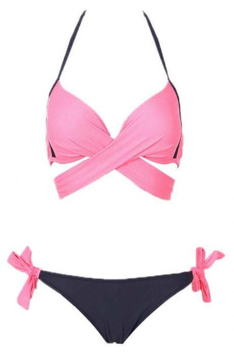 Cross Patchwork Women Swimwear Swimsuit Halter Top Bathing Suits - Pink