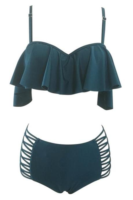New Ruffle Ruched Bandeau Vintage Bikinis Swimwear Women Bikini Set Solid Beach Bathing Suits - Dark Green