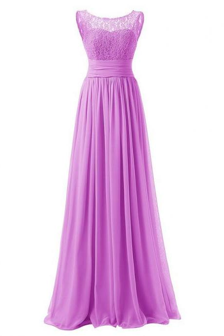 Elegant Long Evening Dresses Women Bridesmaid Wedding Party Dress - Purple