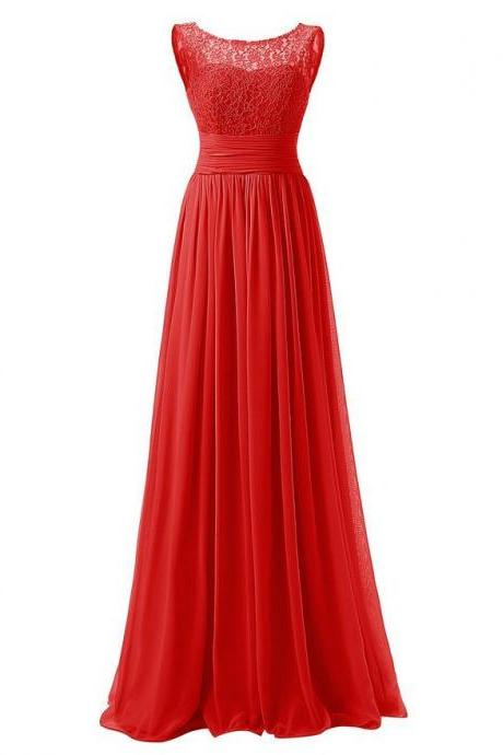 Elegant Long Evening Dresses Women Bridesmaid Wedding Party Dress - Red