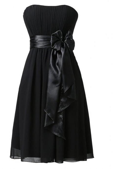 Black Chiffon Ruched Strapless Straight-Across Short A-Line Bridesmaid Dress Featuring Bow Accent Belt
