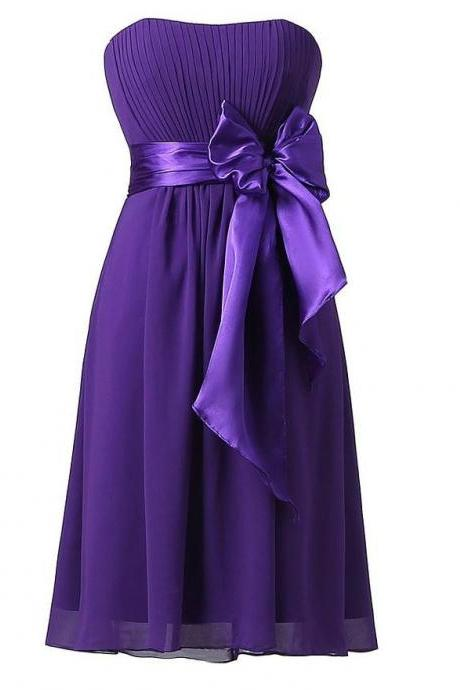 Sweet Bow Chiffon Bridesmaid Party Dress - Dark Purple
