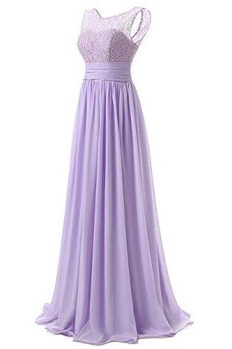 Long Prom Dress Scoop Bridesmaid Dress Lace Chiffon Evening Gown - Light Purple