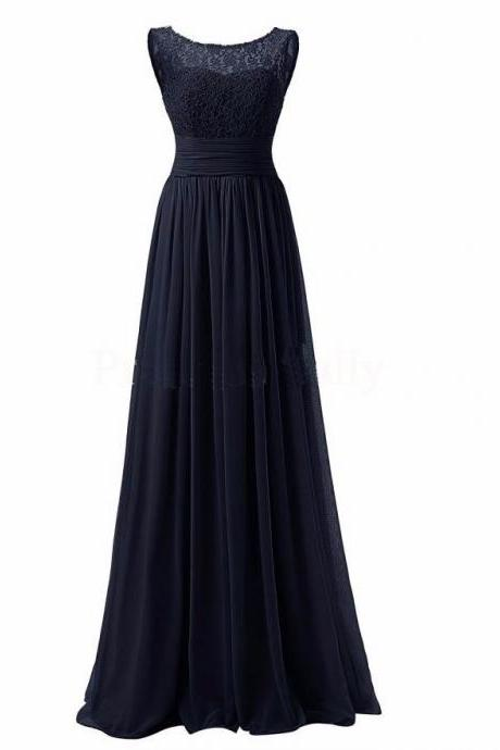 Long Prom Dress Scoop Bridesmaid Dress Lace Chiffon Evening Gown - Navy Blue