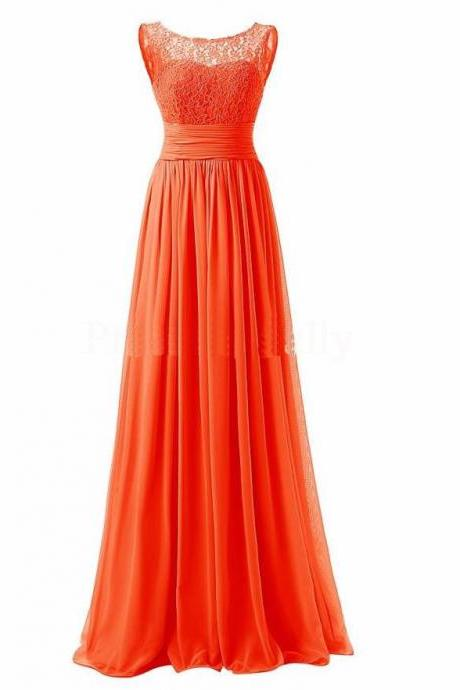 Long Prom Dress Scoop Bridesmaid Dress Lace Chiffon Evening Gown - Orange