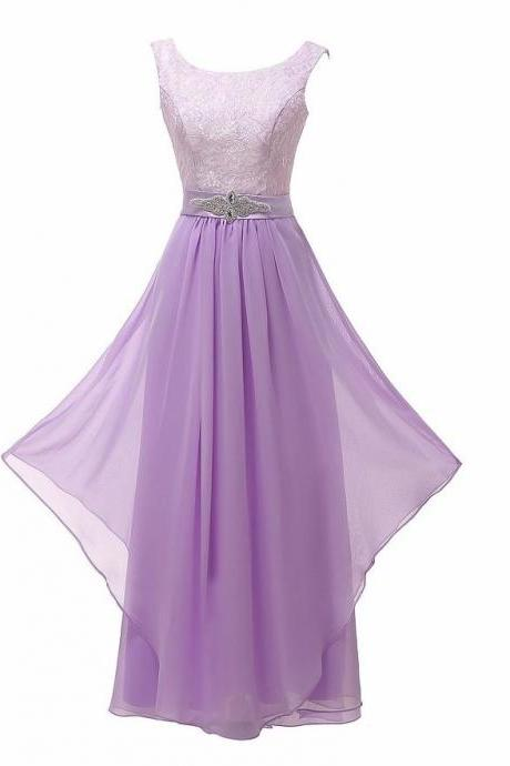 New Arrival Lace Patchwork Long Ruffles Evening Backless Prom Dress - Light Purple