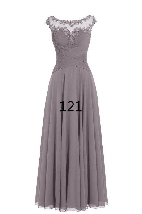 Women Sleveless Embroidered Chiffon Bridesmaid Dress Long Party Pageant Wedding Formal Dress - Grey