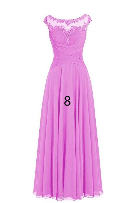Women Sleveless Embroidered Chiffon Bridesmaid Dress Long Party Pageant Wedding Formal Dress - Purple