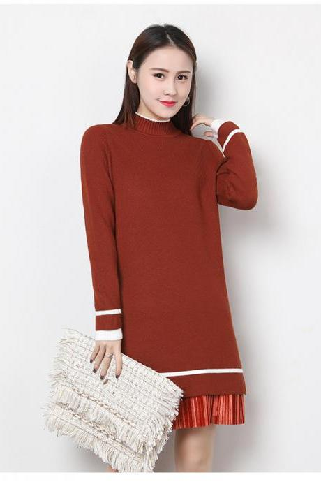 Women's Long Sleeve Knitted Casual Turtleneck Sweater - Caramel Color