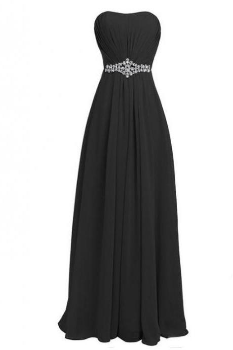 New Fashion Long Chiffon Prom Dress with Beadings Bridesmaid Dresses Party Dress - Black