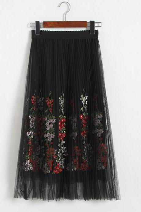Women Floral Print Gauze Skirt - Black