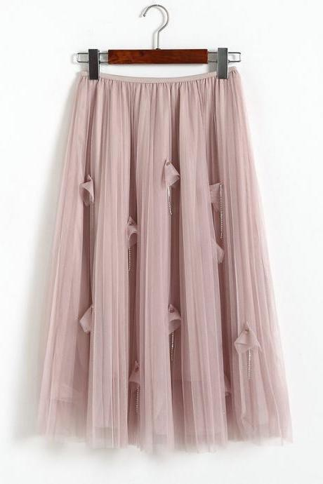 Women Elegant Gauze Beaded High-Waisted Skirt - Pink