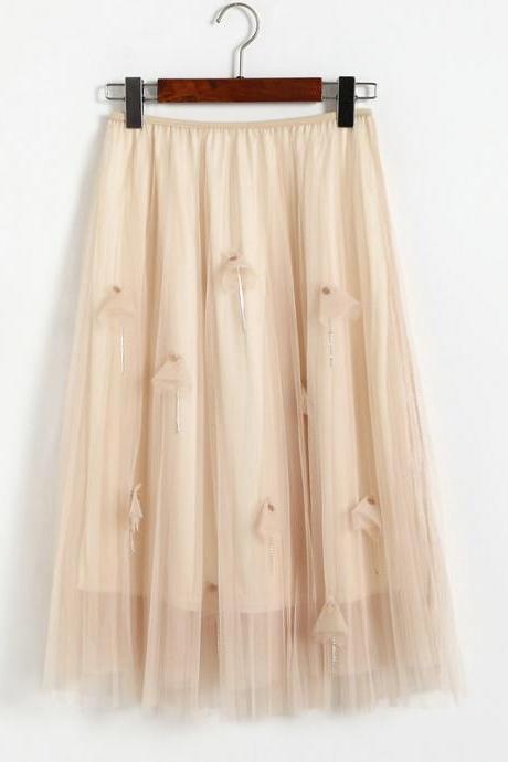 Women Elegant Gauze Beaded High-Waisted Skirt - Beige