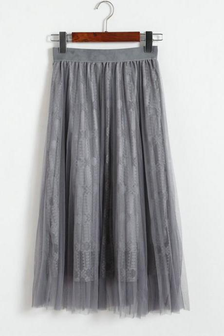 Women Gauze Elastic Waist Skirt - Grey