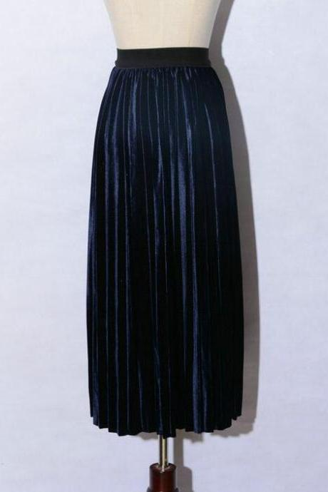 women Retro Pleated Skirt High Waist Maxi Dress - Navy Blue