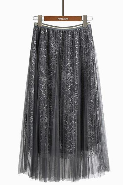 Women Beading Elastic Waist Mesh Pleated Skirt - Grey
