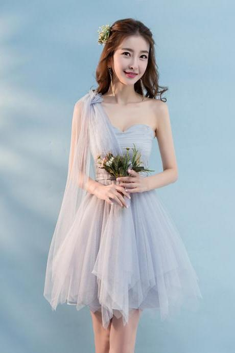 New Mini One Shoulder Sleeveless Bridesmaid Party Dress