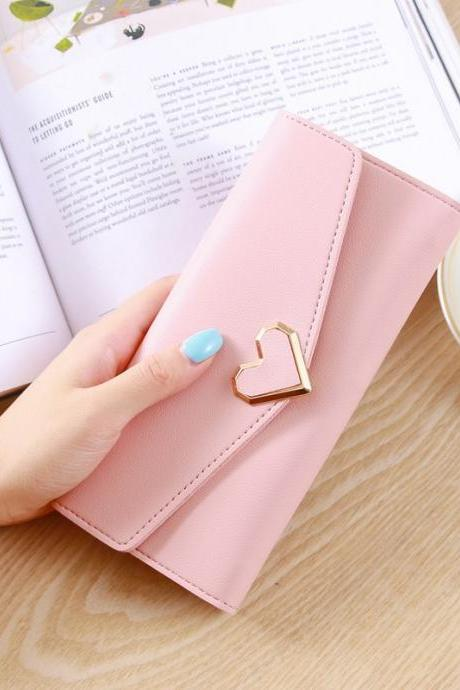 Heart Shaped Wallet PU Leather Card Holder Women Girl Purse Bag - Light Pink