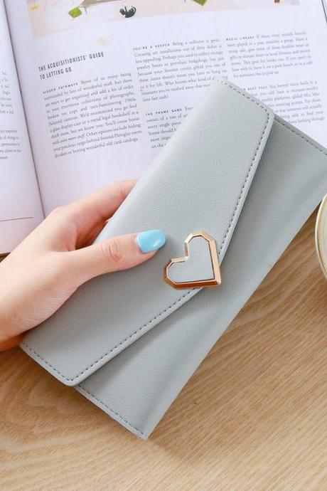 Heart Shaped Wallet PU Leather Card Holder Women Girl Purse Bag - Light Grey