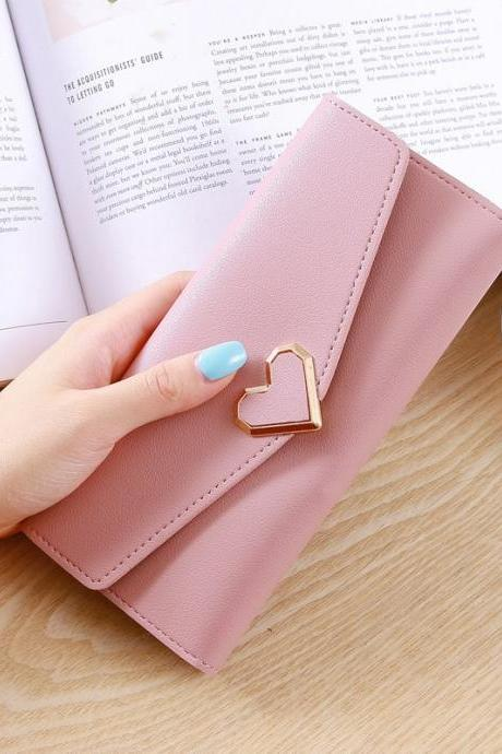 Heart Shaped Wallet PU Leather Card Holder Women Girl Purse Bag - Dark Pink