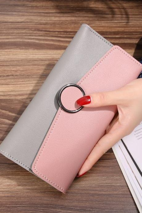 New Design Casual Fashion Clutch Wallet Long Purse - Pink