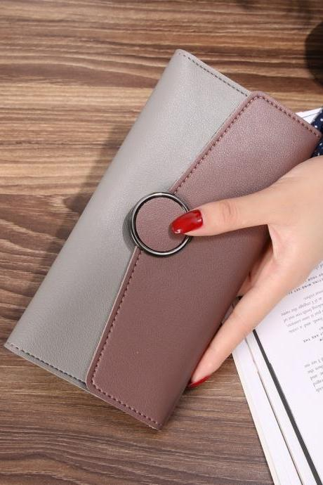 New Design Casual Fashion Clutch Wallet Long Purse - Coffree