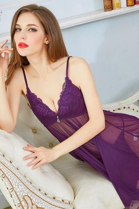 Women Sexy V Neck Sleepwear Lingerie Halter Nightdress Set - Dark Purple