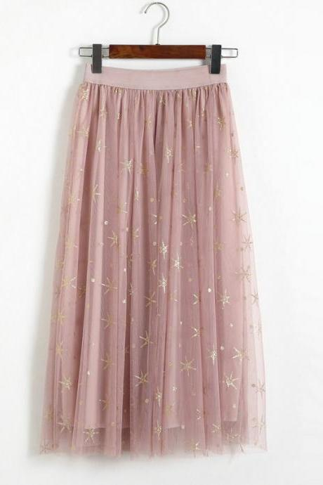 New Star Pattern Women Midi Skirt - Pink