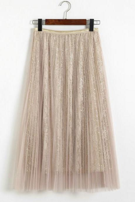 New Style Sequins Gauze A Line Skirt - Beige