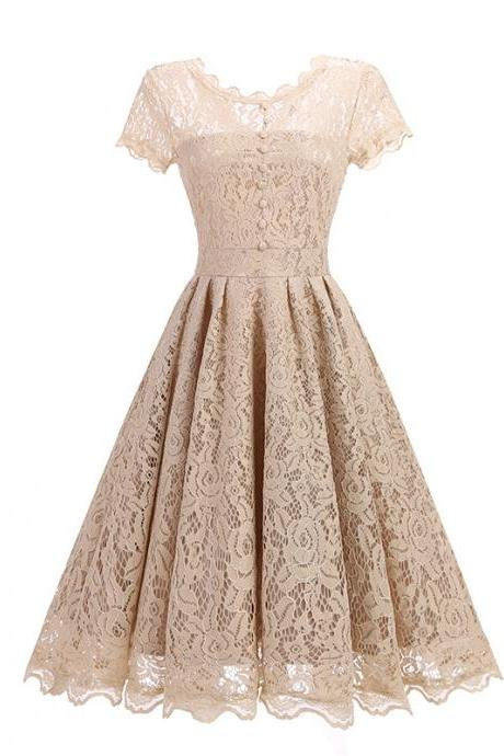 New Arrive O-neck Solid Short Sleeve Lace Hollow Vintage Dress - Beige
