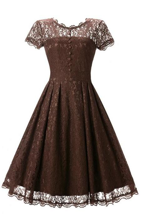 New Arrive O-neck Solid Short Sleeve Lace Hollow Vintage Dress - Coffee