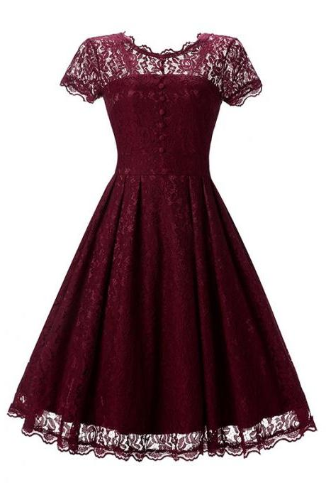 New Arrive O-neck Solid Short Sleeve Lace Hollow Vintage Dress - Wine Red