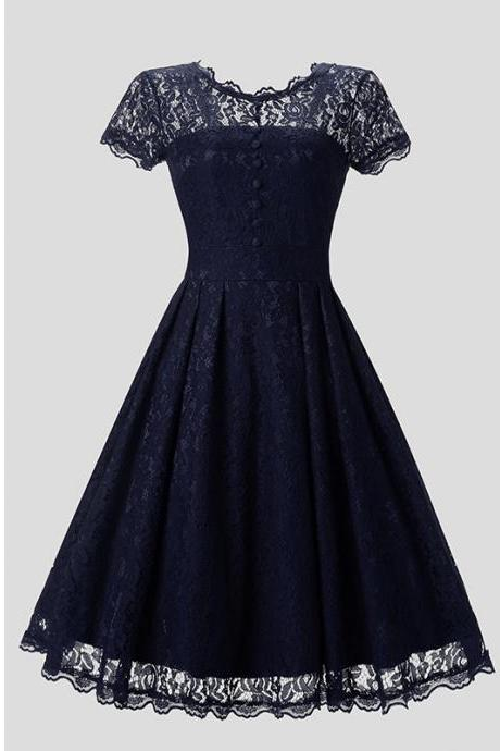 New Arrive O-neck Solid Short Sleeve Lace Hollow Vintage Dress - Navy Blue