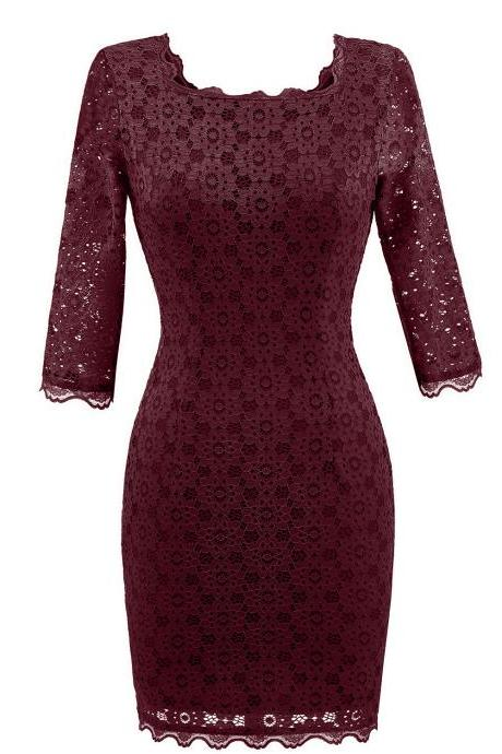 Women's Vintage Square Collar 2/3 Sleeve Floral Lace Sheath Bodycon Dresses - Wine Red