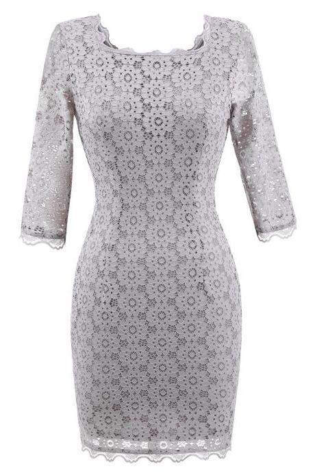 Women's Vintage Square Collar 2/3 Sleeve Floral Lace Sheath Bodycon Dresses - Grey