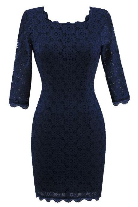 Women's Vintage Square Collar 2/3 Sleeve Floral Lace Sheath Bodycon Dresses - Navy Blue