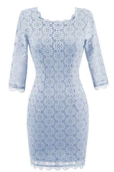 Women's Vintage Square Collar 2/3 Sleeve Floral Lace Sheath Bodycon Dresses - Light Blue