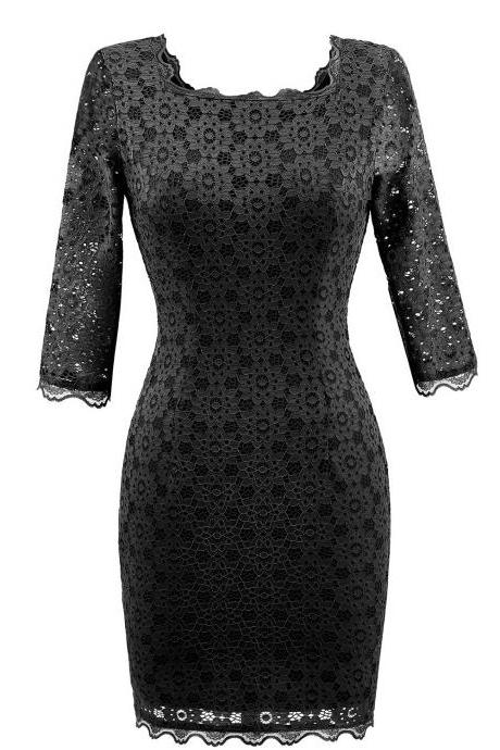 Women's Vintage Square Collar 2/3 Sleeve Floral Lace Sheath Bodycon Dresses - Black