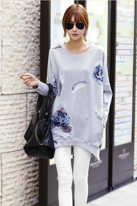Grey Women Print Loose Casual Bat-wing Sleeve Shirt