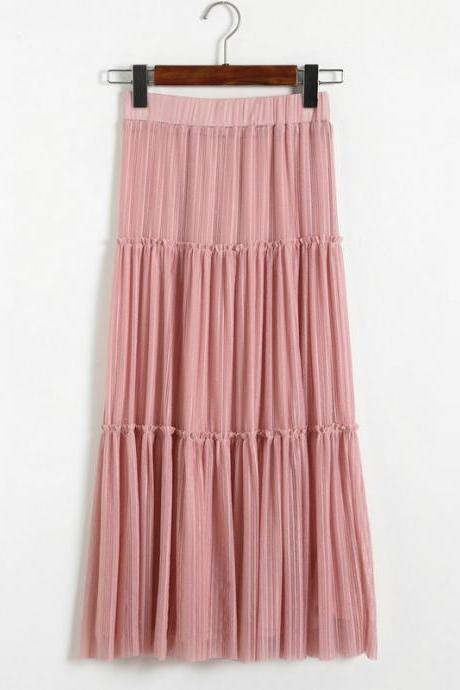 New Women Pleated A-line Skirt - Pink