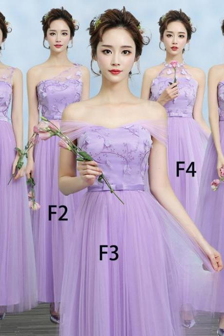 New Purple Color Gauze Long Bridesmaid Wedding Dress