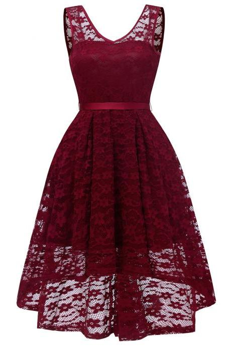 Women V Neck Irregular Floral Lace Dress Sexy Backless Slim Swing Dress - Wine Red