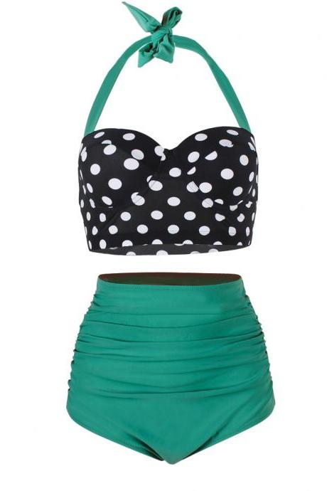 Lady Retro Style Polka Dot High Waisted Bikini Swimsuit Swimwear - Green
