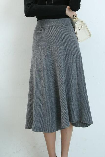 Autumn A-line Knit Skirts Solid Knitted Long Skirts - Grey