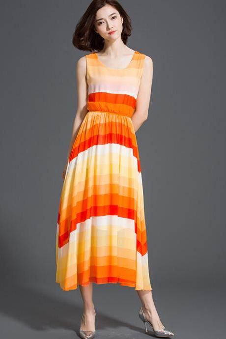 Good Quality New Bohemia Summer Chiffon Striped Long Beach Dress - Orange